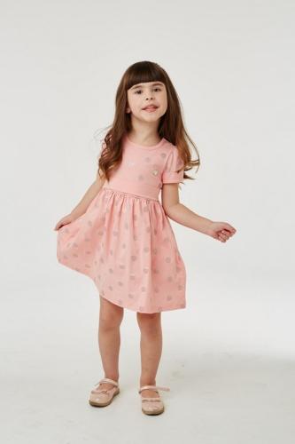 Платье для девочки р.110, серо-розовое в горошек UMKA