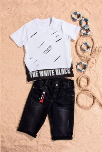 Костюм шорты с футболкой для мальчика, размер 5 лет, белый, Bebus