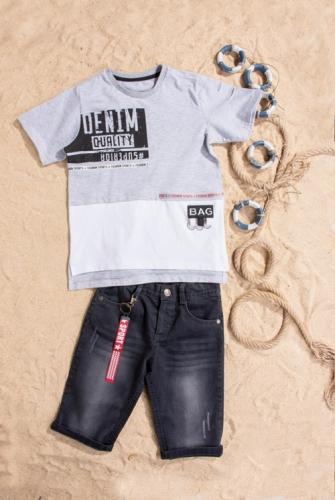 Костюм шорты с футболкой для мальчика, размер 7 лет, серый, Bebus