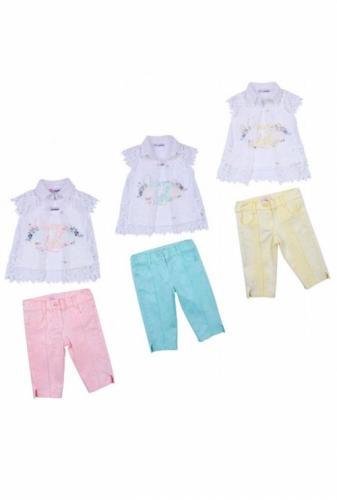 Комплект блузка и бриджи для девочки, размер 3 года, светло-желтый, KTS