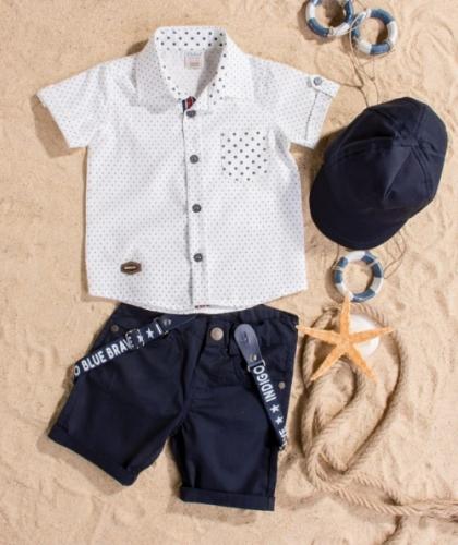 Костюм для мальчика, размер 12 месяцев, темно-синий/белый, Bebus