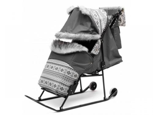 Санки-коляска ABC Academy Скандинавия 2УВ Авто цвет серый