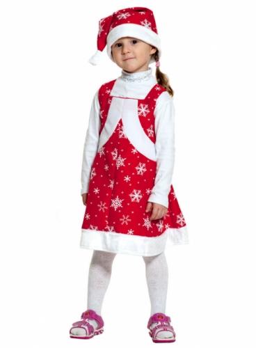 Карнавальный костюм Мисс Санта ткань-плюш (сарафан, колпак) 3-6 лет