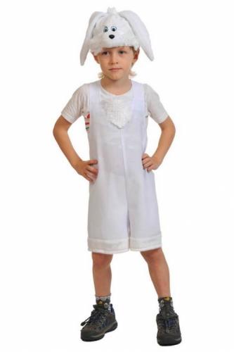 Карнавальный костюм Зайчик белый ткань-плюш (полукомбинезон, маска) 3-6 лет