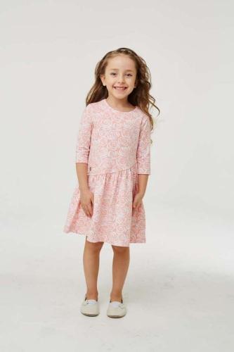 Платье для девочки размер 122, розовое с розами, УМКА