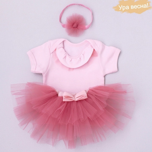 Комплект для девочки Малина весна-осень Крошкин дом р.22 (рост 68-74 см), розовый