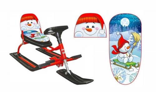 Снегокат Барс SNOWKAT Comfort Снеговик со складной спинкой, красная рама - 130