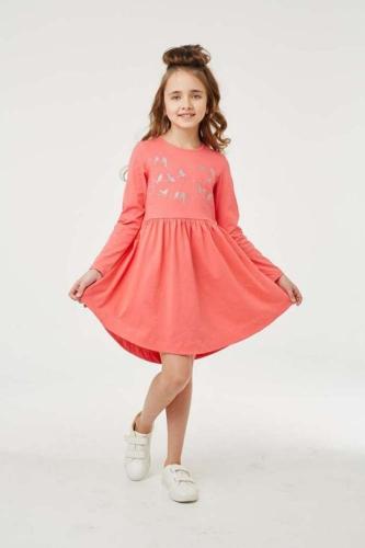 Платье для девочки размер 134, Птички на проводе Коралловый, УМКА