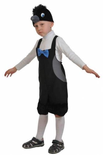 Карнавальный костюм Вороненок ткань-плюш (полукомбинезон, маска) 3-6 лет