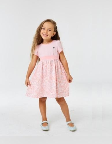 Платье для девочки р.98, бело-розовое с коротким рукавом UMKA