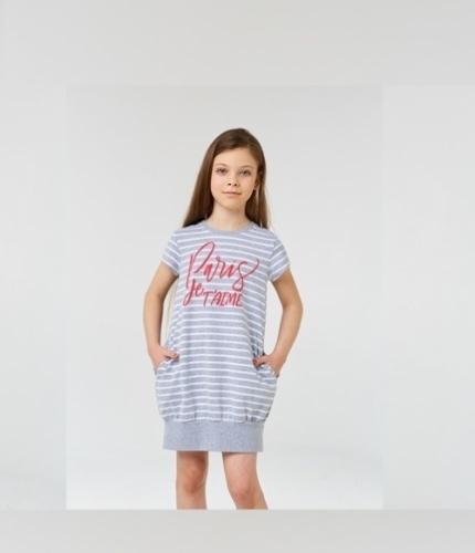 Платье для девочки р.134, серо-белое с надписью UMKA