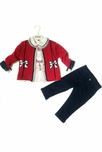 Комплект 3 предмета для девочки, размер 24 месяца, красный/темно-синий, Bebus