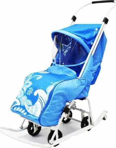 Санки-коляска Тяни-Толкай узор Зимняя сказка цвет синий