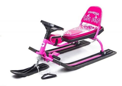 Снегокат Барс SNOWKAT Comfort Vanessa со складной спинкой, розовая рама - 106