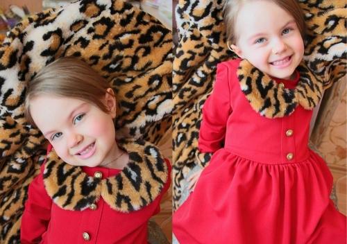 Теплое платье для девочки Bon&Bon, красное, 4-5 лет