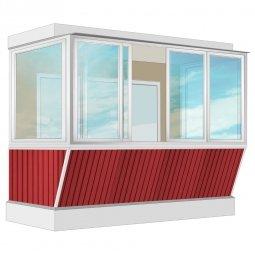Остекление балкона Алюминиевое Provedal с выносом и отделкой вагонкой без утепления 3.2 м П-образное