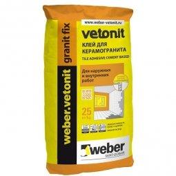 Клей Weber.Vetonit Granit Fix для керамогранита для наружных и внутренних работ 25кг