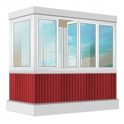 Остекление балкона ПВХ Exprof с отделкой вагонкой с утеплением 2.4 м Г-образное