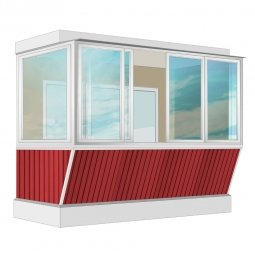 Остекление балкона Алюминиевое Provedal с выносом и отделкой ПВХ-панелями без утепления 3.2 м Г-образное