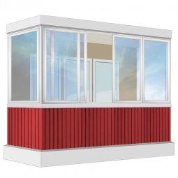 Остекление балкона Алюминиевое Provedal с отделкой ПВХ-панелями без утепления 3.2 м П-образное