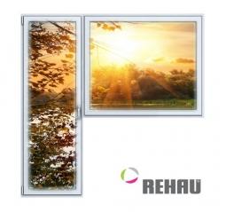 Балконный блок ПВХ Rehau 2100х2100 мм 1-Г 2 стеклопакет