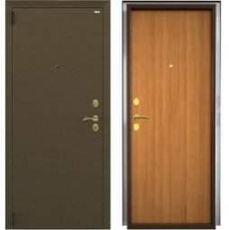 Стальная дверь Гардиан Фактор К медный антик/светлый орех левая 2 замка  880x2050 мм