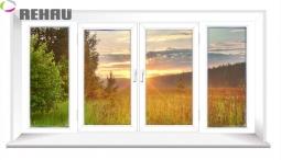 Окно раздвижное Rehau 2100X3000 четырехстворчатое 2 стеклопакет